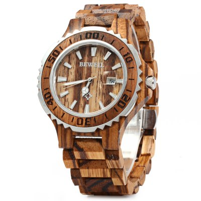 BEWELL ZS-100BG Metal Case Wooden Men Quartz Watch