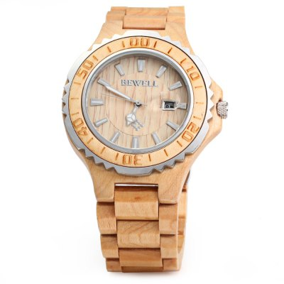 BEWELL ZS-100BG Metal Case Wooden Men Quartz WatchCouples Watches<br>BEWELL ZS-100BG Metal Case Wooden Men Quartz Watch<br><br>Brand: Bewell<br>Watches categories: Male table<br>Watch style: Retro<br>Style elements: Sandalwood<br>Movement type: Quartz watch<br>Shape of the dial: Round<br>Display type: Analog<br>Case material: Wood<br>Band material: Wood<br>Special features: Date<br>Water resistance: 30 meters<br>The dial thickness: 1 cm / 0.39 inches<br>The dial diameter: 5 cm / 1.96 inches<br>The band width: 2.2 cm / 0.86 inches<br>Wearable length: 23 cm /9.04 inches<br>Product weight: 0.080 kg<br>Package weight: 0.130 kg<br>Product size (L x W x H): 23 x 5 x 1.1 cm / 9.04 x 1.97 x 0.43 inches<br>Package size (L x W x H): 24 x 6 x 2 cm / 9.43 x 2.36 x 0.79 inches<br>Package contents: 1 x BEWELL ZS-100BG Wooden Men Quartz Watch with Luminous Hands 30M Water Resistance