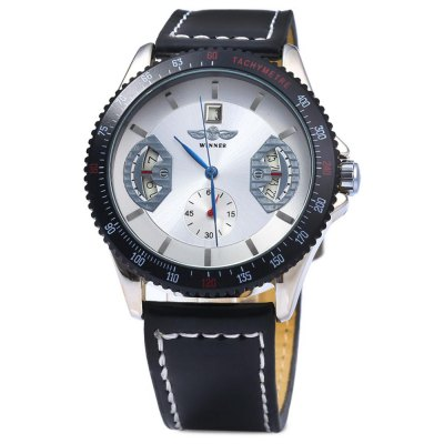 ФОТО Winner Automatic Mechanical Male Watch Day Round Dial Leather Strap