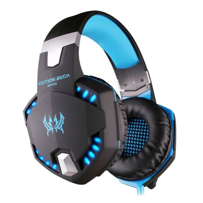 EACH G2100 USB and Audio Jack Dual Input Gaming Headset Stereo Sound Vibration Headset Stretchable Band 2.2m Nylon - coated Cable for PC Game