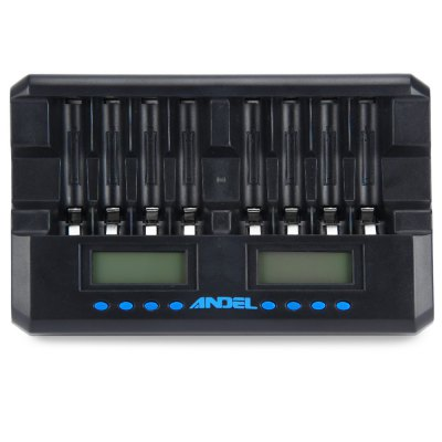 ANDEL 8 Slots Smart ChargerChargers<br>ANDEL 8 Slots Smart Charger<br><br>Type: Battery Charger Kit<br>Plug: US adapter<br>Charging Cell Type: NiCd, Ni-MH<br>Compatible : AA, AAA<br>Rechargeable Battery Qty: 8<br>Input Voltage: AC 100~240V 50/60HZ<br>Output Voltage: 12V<br>Fast Charging Function: YES<br>LCD Screen: YES<br>Reverse Polarity Protection: YES<br>Over Voltage Protection: YES<br>Short Circuit Protection: YES<br>Over Charging Protection: YES<br>Over Discharging Protection: YES<br>Product weight: 0.276 kg<br>Package weight: 0.420 kg<br>Product size (L x W x H): 15.5 x 9.5 x 3.0 cm / 6.09 x 3.73 x 1.18 inches<br>Package size (L x W x H): 18.0 x 18.0 x 4.5 cm / 7.07 x 7.07 x 1.77 inches<br>Package Contents: 1 x ANDEL Eight Slots Charger, 1 x Adapter, 2 x Battery Box