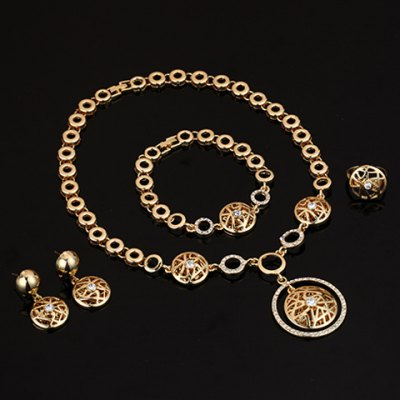 A Suit of Chic Rhinestone Hollow Out Necklace Earrings Ring and Bracelet For Women stainless steel manual push self turning stirrer egg beater whisk mixer kitchen wholesale price