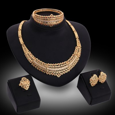 A Suit of Graceful Rhinestoned Hollow Out Necklace Earrings Ring and Bracelet For Women
