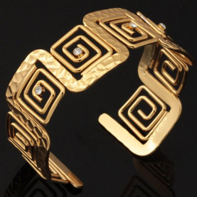 Noble Rhinestone Square Hollow Out Bracelet For Women