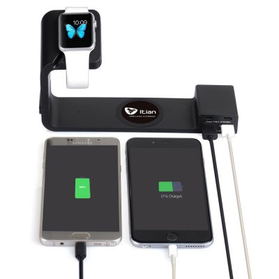 Itian A12 Charger Stand 4 Port Power Adapter Wireless Charger