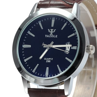 Yazole 296 Male Dual Scales Quartz Watch with Leather Band Date DisplayMens Watches<br>Yazole 296 Male Dual Scales Quartz Watch with Leather Band Date Display<br><br>Brand: Yazole<br>Watches categories: Male table<br>Watch style: Business<br>Movement type: Quartz watch<br>Shape of the dial: Round<br>Display type: Analog<br>Case material: Stainless Steel<br>Band material: Leather<br>Clasp type: Pin buckle<br>Special features: Date<br>Water resistance : Life water resistant<br>The dial thickness: 1.0 cm / 0.39 inches<br>The dial diameter: 4.0 cm / 1.57 inches<br>The band width: 1.8 cm / 0.71 inches<br>Wearable length: 18.5 - 22.5 cm / 7.28 - 8.86 inches<br>Product weight: 0.038 kg<br>Package weight: 0.090 kg<br>Product size (L x W x H): 23 x 4 x 1 cm / 9.04 x 1.57 x 0.39 inches<br>Package size (L x W x H): 24 x 5 x 2 cm / 9.43 x 1.97 x 0.79 inches<br>Package Contents: 1 x Yazole 296 Watch