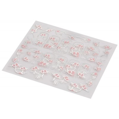 3D Nail Art Decal Tips Embossed Pink Flowers Design Stickers