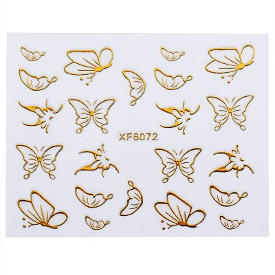 Golden Funny 3D Design Nail Art Stickers Decals
