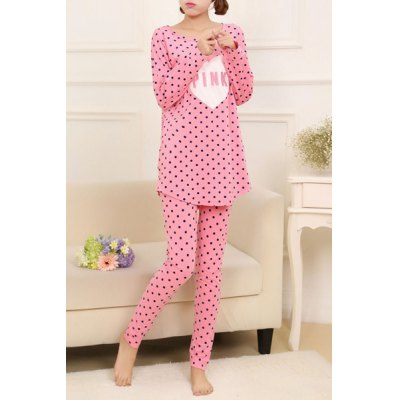 Casual Scoop Neck Long Sleeve Polka Dot Letter Pattern Womens Loungewear SuitWomens Pajamas<br>Casual Scoop Neck Long Sleeve Polka Dot Letter Pattern Womens Loungewear Suit<br><br>Material: Polyester<br>Pattern Type: Letter<br>Weight: 0.410KG<br>Package Contents: 1 x Top  1 x Pants