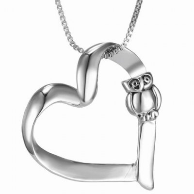 Fashionable Hollow Out Heart Shape Pendant Necklace With Owl For Women
