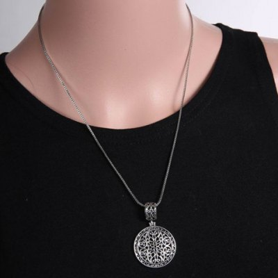 Vintage Round Shape Hollow Out Flower Necklace For Women