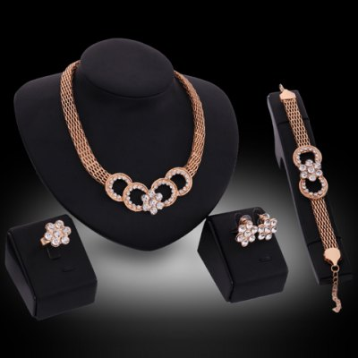 A Suit of Graceful Rhinestone Floral Necklace Earrings Ring and Bracelet For Women