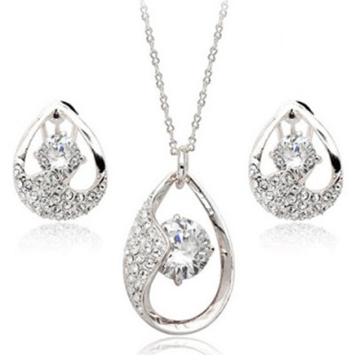 A Suit of Exquisite Zircon Water Drop Necklace and Earrings For Women