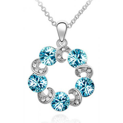 Delicate Rhinestoned Hollow Out Circular Shape Necklace For Women