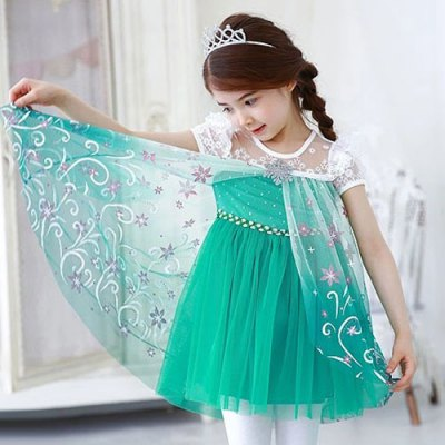 Stylish Short Sleeve Lace Spliced High Low Floral Mini Ball Gown Dress For Girl