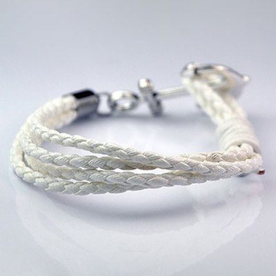 Trendy Faux Leather Chain Anchor Shape Bracelet For Men