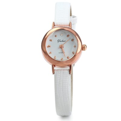 YUHAO Women Quartz WatchWomens Watches<br>YUHAO Women Quartz Watch<br><br>Watches categories: Female table<br>Style: Fashion&amp;Casual<br>Movement type: Quartz watch<br>Shape of the dial: Round<br>Display type: Analog<br>Case material: Alloy<br>Case color: Gold<br>Band material: Leather<br>Clasp type: Pin buckle<br>The dial thickness: 0.8 cm / 0.31 inches<br>The dial diameter: 2.1 cm / 0.83 inches<br>The band width: 0.8 cm / 0.31 inches<br>Wearable length: 14.5 - 18 cm / 5.71 - 7.09 inches<br>Product weight: 0.014 kg<br>Package weight: 0.074 kg<br>Product size (L x W x H): 20.5 x 2.1 x 0.8 cm / 8.06 x 0.83 x 0.31 inches<br>Package size (L x W x H): 21.5 x 3.1 x 1.8 cm / 8.45 x 1.22 x 0.71 inches<br>Package Contents: 1 x YUHAO Women Quartz Watch