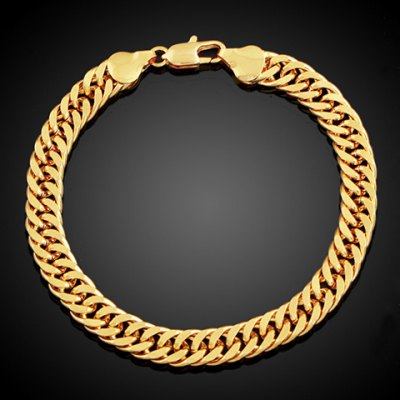 Simple Style Solid Color Link Chain Bracelet For Men