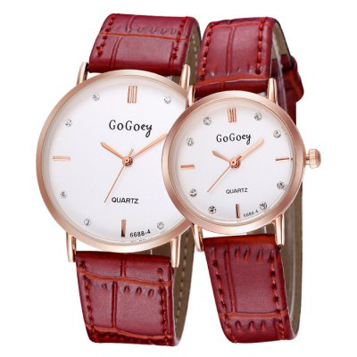 GOGOEY 2745 Diamond Dots Couple Quartz Watch - GoGoeyCouples Watches<br>GOGOEY 2745 Diamond Dots Couple Quartz Watch<br><br>Brand: GOGOEY<br>Watches categories: Couple tables<br>Watch style: Fashion<br>Style elements: Stainless Steel<br>Available color: Black,White,Red<br>Movement type: Quartz watch<br>Display type: Analog<br>Case material: Alloy<br>Band material: PU Leather<br>Clasp type: Pin buckle<br>Package weight: 0.102 kg<br>Package size (L x W x H): 25 x 4.8 x 1.9 cm / 9.83 x 1.89 x 0.75 inches<br>The male dial dimension (L x W x H): 3.8 x 3.8 x 0.9 cm / 1.49 x 1.49 x 0.35 inches<br>The male watch band dimension (L x W): 24.0 x 1.9 cm / 9.4 x 0.75 inches<br>The male watch weight: 0.033 kg<br>The male watch size (L x W x H): 24.0 x 3.8 x 0.9 cm / 9.4 x 1.49 x 0.35 inches<br>The female dial dimension (L x W x H): 2.7 x 2.7 x 0.8 cm / 1.06 x 1.06 x 0.31 inches<br>The female watch band dimension (L x W): 21 x 1.2 cm / 8.25 x 0.47 inches<br>The female watch weight: 0.019 kg<br>The female size (L x W x H): 21 x 2.7 x 0.8 cm / 8.25 x 1.06 x 0.31 inches<br>Package Contents: 2 x GOGOEY 2745 Watch