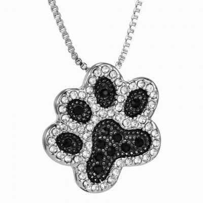 Chic Rhinestoned Footprint Shape Necklace For Women