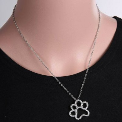 Chic Rhinestone Footprint Shape Pendant Necklace For Women