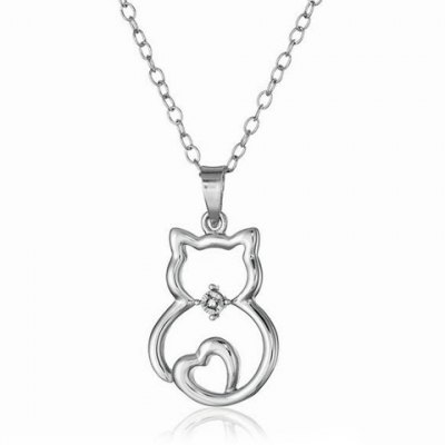 Chic Rhinestone Hollow Out Kitten Shape Necklace For Women