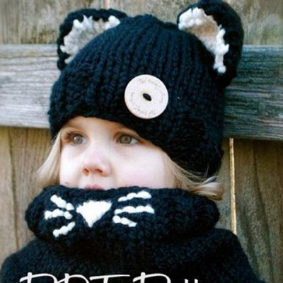 Stylish Button and Cat Ear Shape Embellished Knitted Beanie and Scarf For Kids