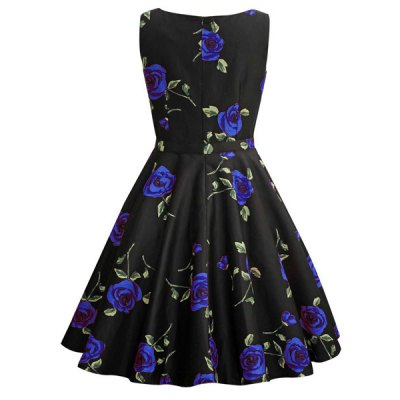 Retro Style Round Neck Sleeveless Roses Print Womens Ball Gown DressWomens Dresses<br>Retro Style Round Neck Sleeveless Roses Print Womens Ball Gown Dress<br><br>Style: Vintage<br>Material: Polyester<br>Silhouette: Ball Gown<br>Dresses Length: Mid-Calf<br>Neckline: Round Collar<br>Sleeve Length: Sleeveless<br>Pattern Type: Floral<br>With Belt: No<br>Season: Summer<br>Weight: 0.412KG<br>Package Contents: 1 x Dress