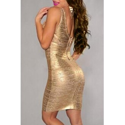 Sexy Golden Plunging Neck Backless Sleeveless Bodycon Dress For WomenWomens Dresses<br>Sexy Golden Plunging Neck Backless Sleeveless Bodycon Dress For Women<br><br>Style: Sexy &amp; Club<br>Material: Polyester<br>Silhouette: Sheath<br>Dresses Length: Mini<br>Neckline: Plunging Neck<br>Sleeve Length: Sleeveless<br>Pattern Type: Solid<br>With Belt: No<br>Season: Summer,Fall<br>Weight: 0.160KG<br>Package Contents: 1 x Dress