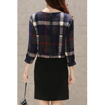 Elegant Jewel Neck 3/4 Sleeve Plaid Printed Blouse and Bodycon Skirt Twinset For Women от GearBest.com INT
