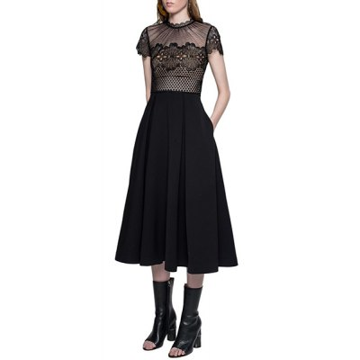 Trendy Lace Splicing Short Sleeve Round Neck Dress For WomenWomens Dresses<br>Trendy Lace Splicing Short Sleeve Round Neck Dress For Women<br><br>Style: Brief<br>Material: Polyester<br>Silhouette: A-Line<br>Dresses Length: Mid-Calf<br>Neckline: Round Collar<br>Sleeve Length: Short Sleeves<br>Pattern Type: Patchwork<br>With Belt: No<br>Season: Summer<br>Weight: 0.37KG<br>Package Contents: 1 x Dress