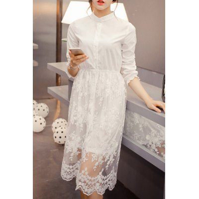 Charming Stand Collar Long Sleeve White See-Through Womens Shirt DressWomens Dresses<br>Charming Stand Collar Long Sleeve White See-Through Womens Shirt Dress<br><br>Style: Cute<br>Material: Polyester,Lace<br>Silhouette: A-Line<br>Dresses Length: Mid-Calf<br>Neckline: Stand<br>Sleeve Length: Long Sleeves<br>Embellishment: Lace<br>Pattern Type: Solid<br>With Belt: No<br>Season: Spring,Summer,Fall<br>Weight: 0.50KG<br>Package Contents: 1 x Dress