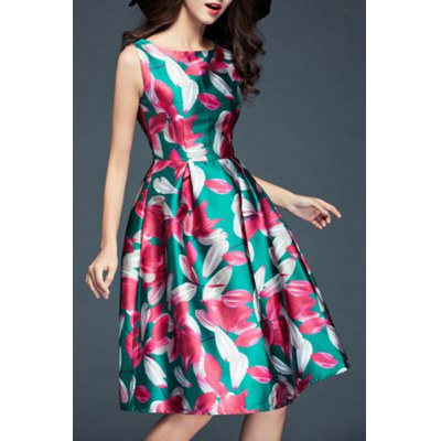 Stylish Slash Neck Flower Print Sleeveless Dress For WomenWomens Dresses<br>Stylish Slash Neck Flower Print Sleeveless Dress For Women<br><br>Style: Vintage<br>Material: Polyester<br>Silhouette: Ball Gown<br>Dresses Length: Mini<br>Neckline: Slash Neck<br>Sleeve Length: Sleeveless<br>Pattern Type: Floral<br>With Belt: No<br>Season: Summer<br>Weight: 0.390KG<br>Package Contents: 1 x Dress