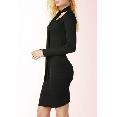 Stylish Black Hollow Out Bow Collar Back Slit Bodycon Knitted Dress For Women