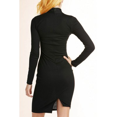 Фотография Stylish Black Hollow Out Bow Collar Back Slit Bodycon Knitted Dress For Women