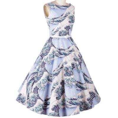Elegant Sleeveless Sea Wave Printed Ball Gown Dress For WomenWomens Dresses<br>Elegant Sleeveless Sea Wave Printed Ball Gown Dress For Women<br><br>Style: Vintage<br>Material: Polyester<br>Silhouette: Ball Gown<br>Dresses Length: Knee-Length<br>Neckline: Boat Neck<br>Sleeve Length: Sleeveless<br>Pattern Type: Print<br>With Belt: No<br>Season: Fall<br>Weight: 0.248KG<br>Package Contents: 1 x Dress