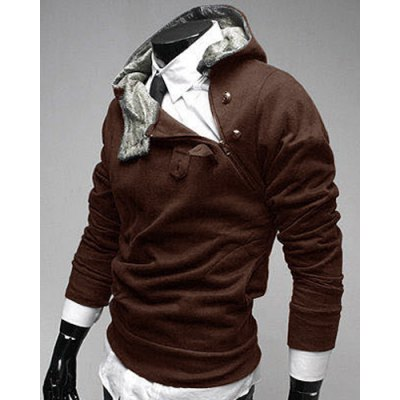 Zipper and Button Embellished Hooded Long Sleeve Mens HoodieMens Hoodies &amp; Sweatshirts<br>Zipper and Button Embellished Hooded Long Sleeve Mens Hoodie<br><br>Material: Cotton,Polyester<br>Clothing Length: Regular<br>Sleeve Length: Full<br>Style: Fashion<br>Weight: 0.414KG<br>Package Contents: 1 x Hoodie