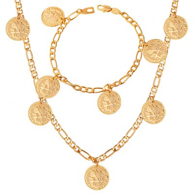 A Suit of Graceful Solid Color Round Coin Necklace and Bracelet For WomenNecklaces &amp; Pendants<br>A Suit of Graceful Solid Color Round Coin Necklace and Bracelet For Women<br><br>Item Type: Pendant Necklace<br>Gender: For Women<br>Style: Trendy<br>Shape/Pattern: Round<br>Weight: 0.094KG<br>Package Contents: 1 x Necklace 1 x Bracelet