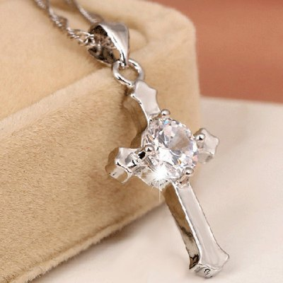 Exquisite Solid Color Rhinestone Cross Shape Pendant Necklace For Women