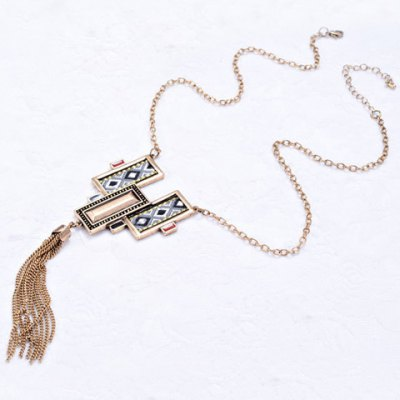 Retro Faux Crystal Cloth Printed Link Chain Tassel Necklace For Women