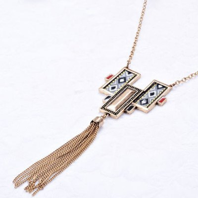 Faux Crystal Cloth Printed Chain Tassel Necklace