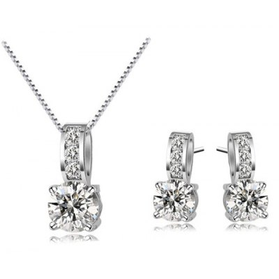 A Suit of Alloy Faux Crystal Zircon Necklace and Earrings