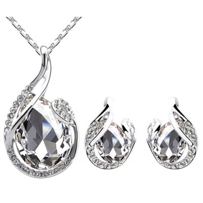 A Suit of Exquisite Faux Crystal Water Drop Necklace and Earrings For Women