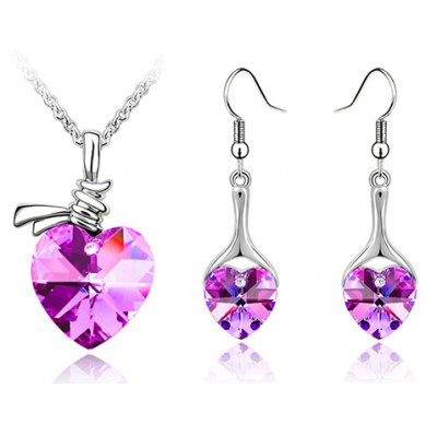 A Suit of Exquisite Faux Crystal Heart Shape Necklace and Earrings For Women