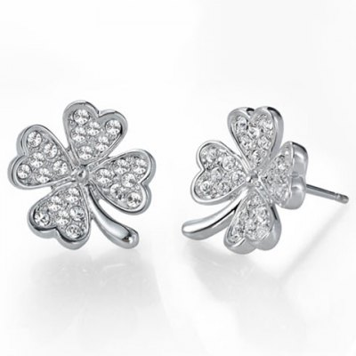 A Suit of Exquisite Rhinestoned Four Leaf Clover Necklace and Earrings For Women