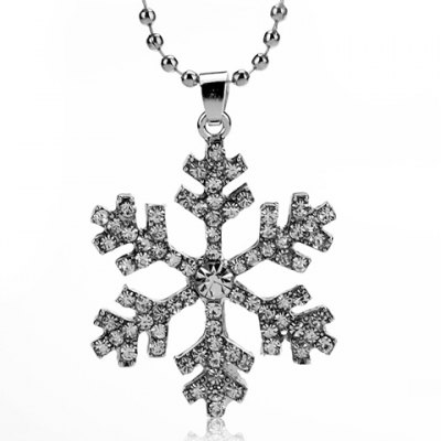 Trendy The Snow Queen Rhinestoned Pendant Necklace For Women