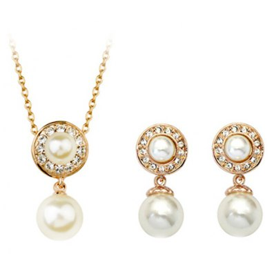 A Suit of Delicate Faux Crystal Rhinestone Round Necklace and Earrings For Women