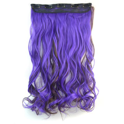 Towheaded Curly Clip In Nobby Long Deep Brown Mixed Purple Synthetic Hair Extension For Women