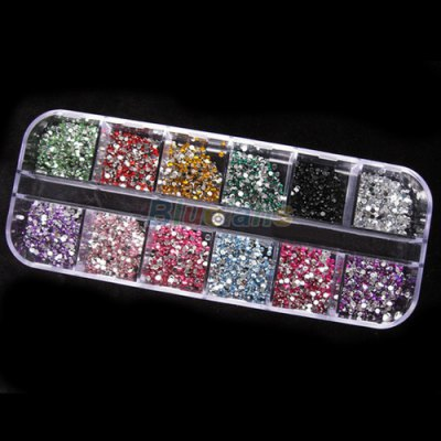 3000pcs 2mm Round Rhinstones 12 Colors Hard Case Nail Art Tips
