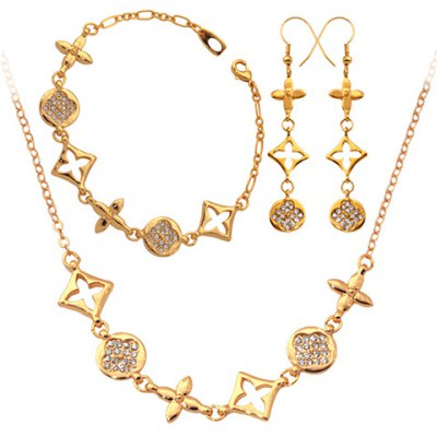 A Suit of Graceful Rhinestoned Clover Necklace Earrings and Bracelet For Women